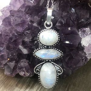 Triple blue moonstone pendant necklace .925 sliver